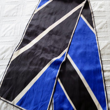 Vintage Silk Scarf Designer Signed Vera Neumann 1970's 10 x 51 inch Long Neck or Head Scarf Black Blue White Diagonal Stripes