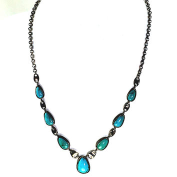 Turquoise Necklace Sterling Silver Multi-Pendant