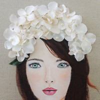 White Flower Girl Wedding Art. Beautiful Brown Hair, Blue Eyes Portrait. Original Mixed Media on Canvas 16X20 inches