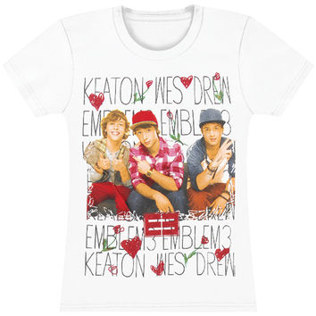 Emblem3  Keaton, Wes, Drew Girls Jr White Rockabilia
