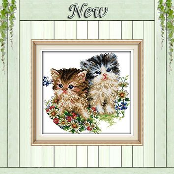 Two lovely Cat lovers animal Painting Counted Print on canvas DMC 14CT 11CT DMS Cross Stitch DIY Needlework Kits Embroidery Sets