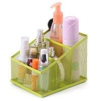 PAG Mesh Desk Organizer Pen Holder Steel Office Supply Caddy Desk Storage Box ;3 Part Green