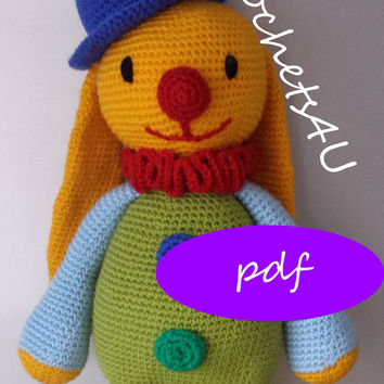 pattern crochet cuddly toy bunny clown with hat / direct pdf download / no sewing