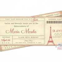 Paris Quinceanera Invitation - Paris Quinceanera Invites - Paris Boarding Pass Invite - Parisian Theme Quinceanera - Paris Ticket Invitation