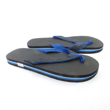 1980s Flip Flops Vintage Sandals Blue Black Stripe Foam 80s Eighties Thick men's size L