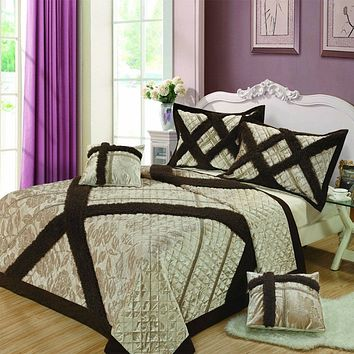 Classic Elegant Velvety Ribbons Decorative Embellished Quilted Coverlet Bedspread Set