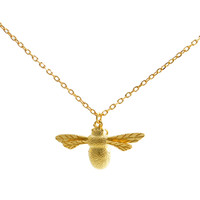 Gold Plated Sterling Silver (Vermeil) Bumble Bee Pendant Necklace with Intricate Details