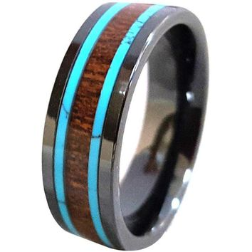 Evon Black Ceramic Wedding Band With Hawaiian Koa Wood and Turquoise inlays 8mm