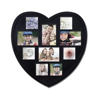 Adeco Decorative Black Wood Heart-Shaped Wall Hanging Picture Photo Frame, 3 x 3-Inch
