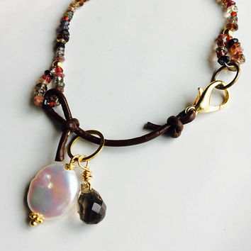 Watermelon Tourmaline, Adalusite, Leather and Pearls, Semi Precious Gemstones Bracelet, Color Change Garnet, , Shongia Sapphires,