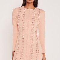 Missguided - Carli Bybel Faux Suede Eyelet Bodycon Dress Nude