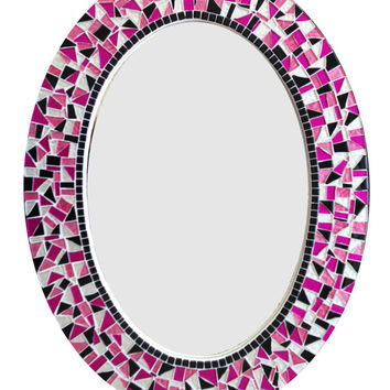 Mosaic Mirror / Oval Wall Mirror / Pink Black White / Teen Girl Decor
