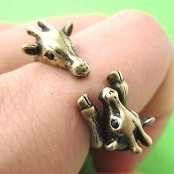 Giraffe Mother and Baby Animal Wrap Around Ring in Brass - Sizes 5 to 9 Available