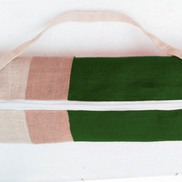 Personalized Yoga Bag - Green Burlap Color Block Yoga Bag- Yoga Tote- Yoga Mat Sling- Green Beige Cream Yoga Bag- Yoga Backpack Accessories