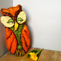 Vintage Orange Owl Home Decor by quirkyessentials on Etsy