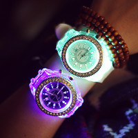 Gift Great Deal Awesome Designer's Trendy New Arrival Good Price Noctilucent Lightning Strong Character Rhinestone Korean Stylish Fashion Couple Watch [8863740807]