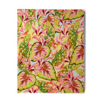 "Mmartabc ""Exotic Botanical Pattern"" Yellow Pink Illustration Birchwood Wall Art"