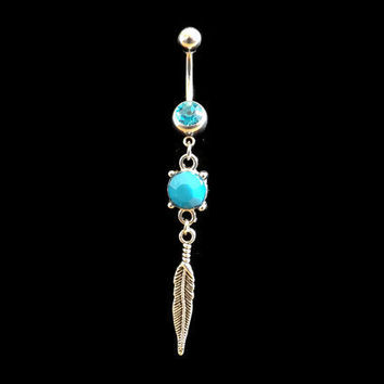 Feather and Blue Stone Belly Ring Blue Rhinestones