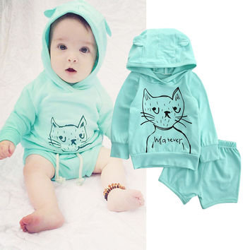 Cute Cat Baby Girls Clothes Newborn Infant Bebek Hooded Sweatshirt Tops+Shorts Pants 2pcs Outfits Tracksuit Kids Clothing Set