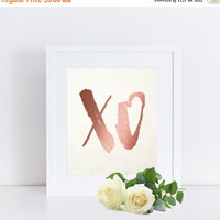 XO Print, XO Poster, XO Wall Art, Hugs and Kisses, Rose Gold Foil Print, Printable Art, Minimalist Print, Instant Download, Home Decor