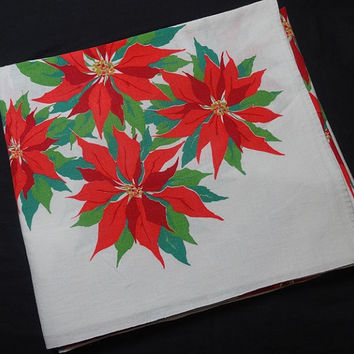 1960s Vintage Large Christmas Tablecloth with Poinsettias, Size 118 x 52 Inches, Cotton Print, White Background, Vintage Christmas Linens