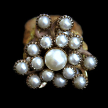 Vintage Faux Pearl Cluster Ring Crotchet Band Adjustable Statement Ring