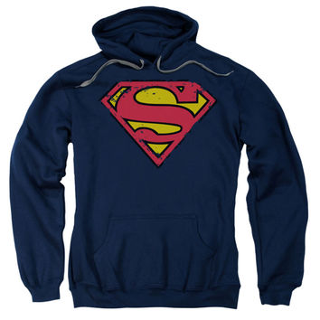 Superman Men's  Distressed Shield Hooded Sweatshirt Blue Rockabilia