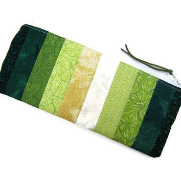 Zipper pouch/ Pencil case/ Writing case/ Small cosmetic bag / cute pencil case/ handwriting/ patchwork grassland / green palette