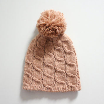Womens winter hat in Camel, Pom pom hat, Cabled beanie, Bobble hat, Alpaca Merino wool, Beige hat