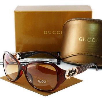 Gucci Trending Ladies Men Casual Sun Shades Eyeglasses Glasses Brown Frame I