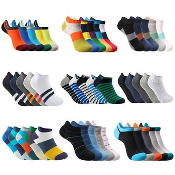 New Summer Spring Pier Polo Brand Fashion Men Ankle Socks Casual Colorful Pure Cotton Slipper Socks No Logo (5Pairs/lot)