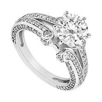 14K White Gold Semi Mount Engagement Ring with 0.75 Carat Diamonds Not Included Center Diamond