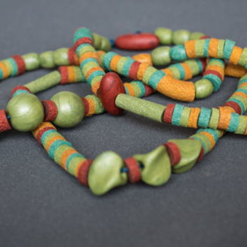 Beadwork necklace Polymer clay necklace Beaded necklace Boho necklace Hippie necklace Mint necklace golden copper necklace Green necklace