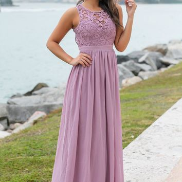 Mauve Crochet Maxi Dress with Open Back