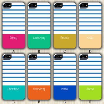 Monogram Navy Stripes Teen Colour Custom iPhone 6/5S/5C/5/4S/4 Wrap Case and Tough Case