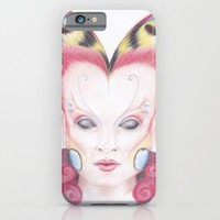 Peacock Butterfly Girl iPhone & iPod Case by Drawings By LAM