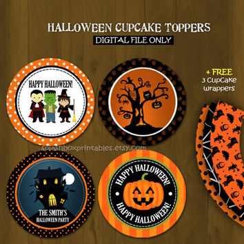 Halloween Printable Cupcake tag toppers with Free Cupcake Wrappers (works for Birthdays too)