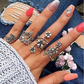 Vintage Bohemian Style Hollow Out Open Cuff Ring Set