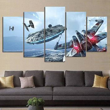 Artryst HD Print 5 pcs canvas wall art Millennium Falcon X-Wing star wars painting canvas modern Children wall art decor AR366