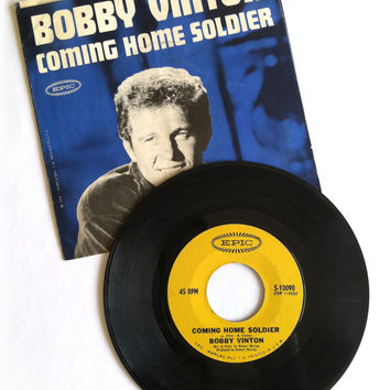 1966 Bobby Vinton 45 Record with Picture Sleeve Sleeve, Coming Home Soldier and Don't Let My Mary Go Around
