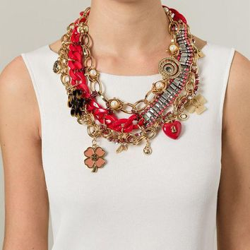 Tory Burch Embellished Charm Bib Necklace