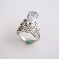 925 sterling silver  water dripping type crown opening ring,simple silver ring,a dainty gift