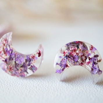Real Dried Flowers and Resin Moon Stud Earrings in Purples