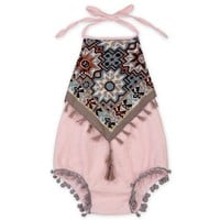 Baby Girl Tassels Backless Rompers