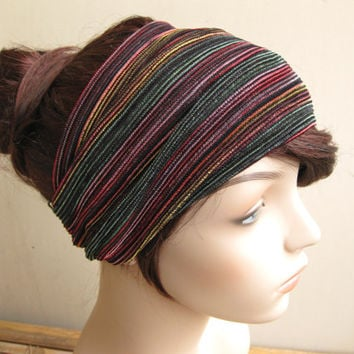 Multicolor Raspberry Emerald and Gold Tones Striped Turban Wrap Headband, Women's Wide Colorful Head Wrap, Turband,  Hair Accessories
