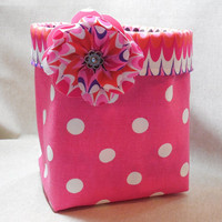 Bright Pink Polka Dot Fabric Basket With Multi-Colored Scallop Liner and Detachable Fabric Flower Pin