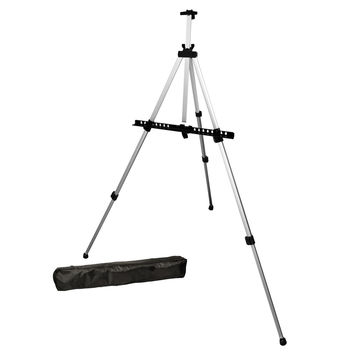 US Art Supply Silver Pismo 65 inch Tall Lightweight Aluminum Field Floor and Table Easel with Bag 1