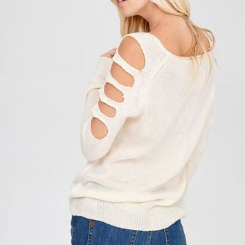 Cold Shoulder Sweater | Cream