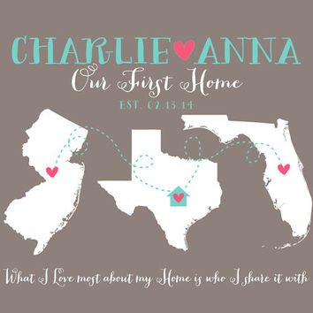 First Home Gift for Housewarming - 8x10 Art Print, Hometowns, 3 Maps, Long Distance - Moving Away Gift, New House, What I Love Most