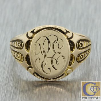 1880s Antique Victorian Womens 10k Yellow Gold Engraved Monogrammed Signet Ring